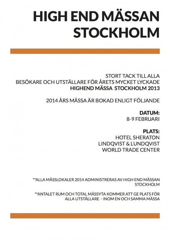Stockholm High End 2014 @ Hotel Sheraton | Stoccolma | Svezia