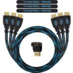 TWISTED VEINS 3ACHB1.5 Confezione da Tre (3) Cavi HDMI da cm 45, con Attacco a Gomito a 90° e Legacci Velcro (Cavo Ultima Versione, offre Ethernet, 3D e Canale di Ritorno Audio)