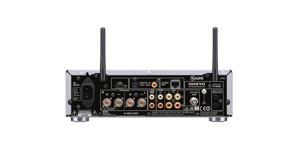 Onkyo R-N855 rear