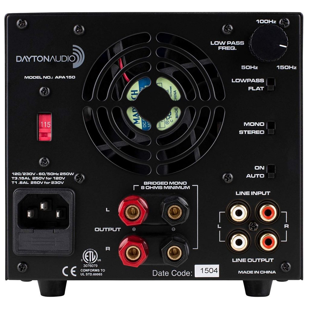 Dayton Audio APA150 rear